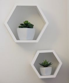Add a interesting touch to any wall with this set of two hexagonal white wood wall shelves. You can display accent shelf by themselves or in groups for an eye-catching arrangement. Hexagon Wall Shelf, Wood Wall Shelf, Wall Shelves, Scandinavian Home, White Wood, Decoration, Floating Shelves, Pillows, Interior