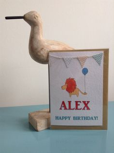 Personalised children's birthday cards from LazyToadDesigns Kids Birthday Cards, Happy Birthday, Greeting Cards, Bird, Christmas Ornaments, Holiday Decor, Fun, Happy Brithday, Urari La Multi Ani