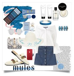 """Mules: Summer White & Denim"" by ane-56 on Polyvore featuring Lacoste L!VE, Jacquemus, Valentino, Christian Dior, New Directions, Bobbi Brown Cosmetics, Marc Jacobs, Burberry, Clé de Peau Beauté and Miss Selfridge"