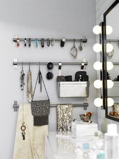 A little organization for your makeup and accessories, and a well-lit mirror, go a long way towards making your mornings a little less manic.