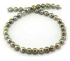 Pistachio Tahitian Pearl Necklace with Tahitian Teardrop Pearls