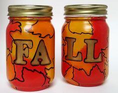 Fall Mason Jar Decor- Fall Leaf Decor- Home Fall decor- Painted Mason Jars…