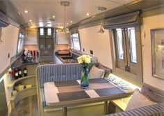 Nice modern interior in grey and blue and sage green Barge Interior, Modern Interior, Narrowboat Interiors, Canal Boat Hire, Barges For Sale, Canal Boat Interior, Small Houseboats, Barge Boat, Tiny Houses