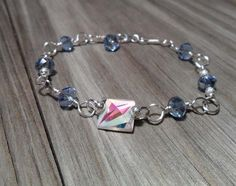 Wire Wrapped Swarovski Crystal Bracelet Silver by DonnaJJewelry, $22.00
