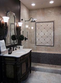 Traditional Travertine and glass bath