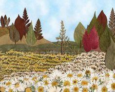 Landscape Art print 8''x10'' Pressed Flower Art Mixed Media Oshibana Nature Art Woodland Daisies Botanical Art Archival High Quality Print