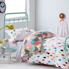 Adairs Kids Raindrop Confetti Quilt Cover Set, Rainbow Confetti Kids quilt covers, doona covers from Adairs Kids