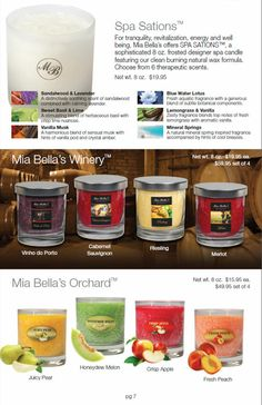 SPA & WINE COLLECTION Melissa Johnson Scent-sations Independent Distributor 479-295-9757 http://www.melissajohnson.scent-team.com/
