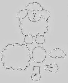 Pattern for the felt sheep which could be changed into a kitty Applique Templates, Applique Patterns, Applique Designs, Sheep Template, Lamb Template, Sheep Crafts, Felt Crafts, Easter Crafts, Sewing Art