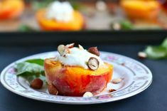 roasted peaches with goat cheese and honey. try on the grill, too, for appetizer or dessert.