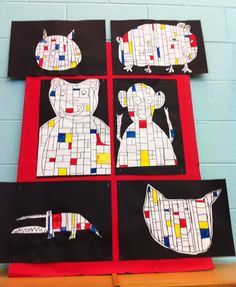 Apex Elementary Art: it's hip to be a square - Mondrian Animals 2nd Grade