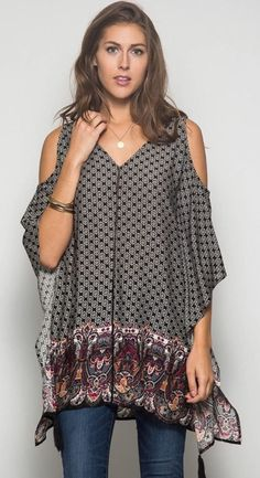 Bohemian Cold Shoulder Poncho with Tassel