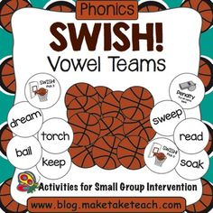 The Make, Take and Teach Swish! Basketball Game is a fun sports-themed activity for practicing common vowel teams.  When you download this activity you'll receive 144 basketballs with words containing ea, ee, oe, ui, oa, ie and ai vowel combinations.