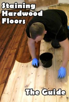 How to stain wood floors.  http://howtosandafloor.com/how-to-stain-a-wooden-floor-like-a-pro/