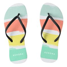 """Painted Summer Stripes Sunwashed Neon Flip Flops  Step into retro summer style with our bold brushstroke painted stripe flip flops, featuring sunwashed, faded neon hues of aqua, coral, chartreuse yellow and aqua. Add a name or monogram in white using the field provided, or simply delete the sample name if not personalizing.   Need another color or pattern, or help customizing? Contact me via the """"Ask this Designer"""" link on this page."""
