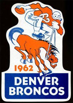 1962 Denver Broncos Sticker Schedule// my dad had this on his yellow Pinto! Nfl Broncos, Denver Broncos Football, School Football, Sports Team Logos, Sports Art, Broncos Schedule, Americana Retro, Alberta Canada, Nhl