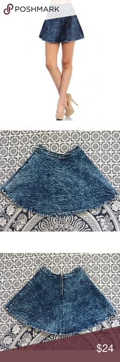 Acid wash skater skirt• Acid-rinsed indigo denim fashions a high-rise skater skirt for sassy, throwback style! Perfect to throw on for a casual outing with friends or lover!  It's unlined & provides some stretch! NWOT, purchased in Nordstrom rack. No stains or rips! 🌹Bundle & Save on shipping🌹     🌿I ship same day if purchased before 4pm PST M-F (I do not trade) Nordstrom Skirts Circle & Skater
