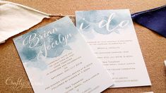 Dusty Blue Watercolour Themed Wedding Invitation for beach wedding