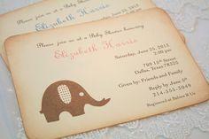 Elephant Invitation Baby Shower Christening Vintage Boy Girl Neutral on Etsy, $2.50