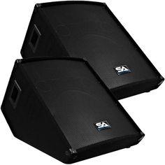 Seismic Audio - Pair of Floor Wedge Style Monitors - Studio, Stage, or Floor use - PA/DJ Speakers, Black Monitor Picture, Sound Monitor, Dj Stage, Metal Grill, Home Audio Speakers, Black Carpet, Speaker Stands, Hip Hop Artists, Black Metal