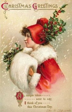 old Christmas card - love the hat with holly