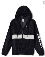 Victorias Secret PINK Anorak Full Zip Hoodie Windbreaker Jacket BLACK XS/Sm