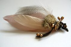 NAPA Feather Boutonniere in Blush Cream and Grey by PompAndPlumage, $16.00