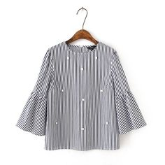 Pearl Beaded Striped Blouse