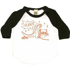Giant Lizard RAWR Baby Baseball Shirt 612 mo WhiteBlack ** Check out the image by visiting the link.