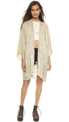 Ganni Women's Summer Sequins Kimono, Gold/Silver, X-Small at Amazon Women's Clothing store: