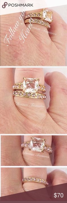 📓3.5Carat AAA White CZ & Pink Crystal Wedding Set The 1.5 ct White CZ Center Stone is so clear it looks like an ice cube! It's flanked on either side by 5 smaller Pink Channel Set CZ's. in a classic 10K Gold Filled Setting. The band is highlighted by 12 Pink CZ's going halfway around in the same Gold Filled Setting for a total of approx 3.5 ct's. worth of Sparkle!  All stones have been examined and are firmly in place. #0527-2 Jewelry Rings