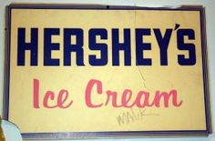 "ICE CREAM DIE-CUTS & SIGN    Cardboard Hersheys Ice Cream sign, together with cardboard die-cut ice cream and hot dog; H-16"", W-24"", P-EX THIS WAS USED AS A MOVIE PROP"