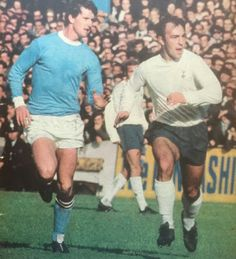 Man City 1 Tottenham 0 in March 1969 at Maine Road. Mick Doyle keeps close to Jimmy Greaves in the FA Cup 6th Round tie.