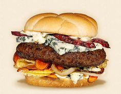 The Couch Potato:  Wisconsin Blue Cheese Cheeseburger Recipe.  Other ingredients:  thick-cut potato chips, sautéed onions, buttered bun, beef patty, smoked pepper pork, and garlic mayonnaise.   - Wisconsin Milk Marketing Board