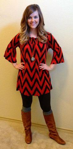 Rust/Black Chevron Dress, $38. #sisterhippie