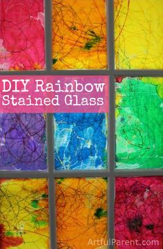 #DIY Rainbow Stained Glass Window #Crayons #RoseArt