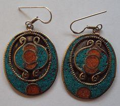 Handmade Turquoise Hoop Gemstone Flat Earrings Set #Handmade #Earring