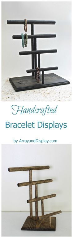 Handcrafted jewelry displays made of locally sourced new and reclaimed wood. Handcrafted in the USA by ArrayandDisplay.com. Bracelet displays, bracelet stands, booth displays, jewelry stands, boutique displays, retail displays, craft market displays.