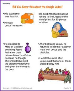 Did You Know this about Judas (Story) - Kids Korner - BibleWise Bible Study For Kids, Bible Lessons For Kids, Kids Bible, Sunday School Lessons, Sunday School Crafts, Bible Stories, Stories For Kids, Bible Activities, Group Activities