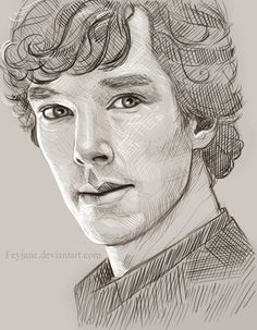 "Sherlock Sketch by feyjane. // Hah, ""sketch."" I wish my sketches looked like this."
