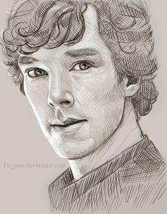 "Sherlock Sketch by feyjane. // Hah, ""sketch."" I wish my sketches looked like this."