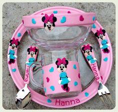 Facebook: Evőeszközök Egyedi Inda. Minny Mouse children plate mug and cutlery. Polymer clay