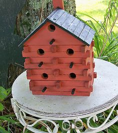 Primitive Maine hand made Birdhouse Log Cabin Style Painted Brick Red