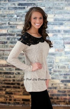 Restock coming The Pink Lily Boutique - Mocha Lace Tunic - Loving this top so much! Pink Lily Boutique, A Boutique, Fall Winter Outfits, Autumn Winter Fashion, Winter Style, Mocha, For Elise, Lace Tunic, Tunic Blouse