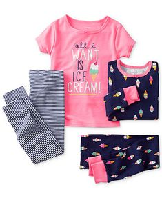 Carter's Toddler Girls' 4-Piece Fitted Ice Cream Pajamas