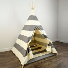 Kids Play Teepee and Play Mat in Gray and Natural Beige Khaki Tan Large Horizontal Stripe Canvas