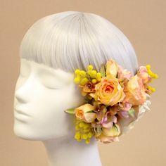 髪飾り・ヘッドドレス/ミモザとローズのヘアピック(ピーチ) - ウェディングヘッドドレス&花髪飾りairaka