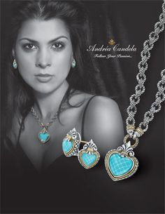 Turquoise set in sterling silver with 18 karat yellow gold with signature fleur de lis by Andrea Candela. See our collection at either location