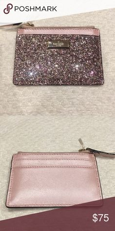 Kate Spade Adi Cardholder Wallet in Rosegold BRAND NEW Gorgeous Kate Spade - Sunset Lane - Adi Cardholder Wallet in Rosegold - Rose Gold. Beautiful pink glitter on the front and a shimmery rose gold on the back. Several card slots and a zippered coin section. kate spade Bags Wallets