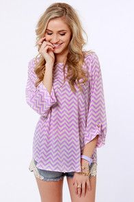 Love the zigzag lavender long sleeved shirt. Also love the shorts. Such a cute outfit.